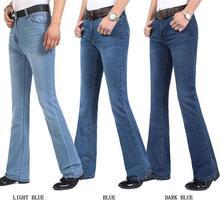 Jeans da uomo Casual di alta qualità con taglio a stivale Casual da uomo di alta qualità pantaloni svasati a campana semi svasati Plus Size 27 38