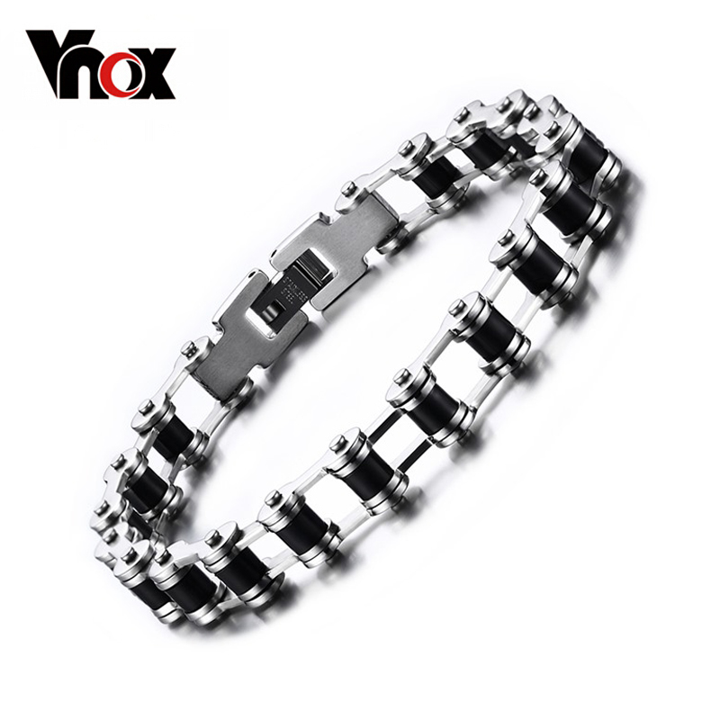 Vnox Promotion Men's Bracelets & Bangles Charm Bicycle Chain Stainless Steel Jewelry With Black Silicone For Male jiayiqi new mens bracelets stainless steel black silicone bracelets charm bracelet male bangle for men jewelry 2017 silver color