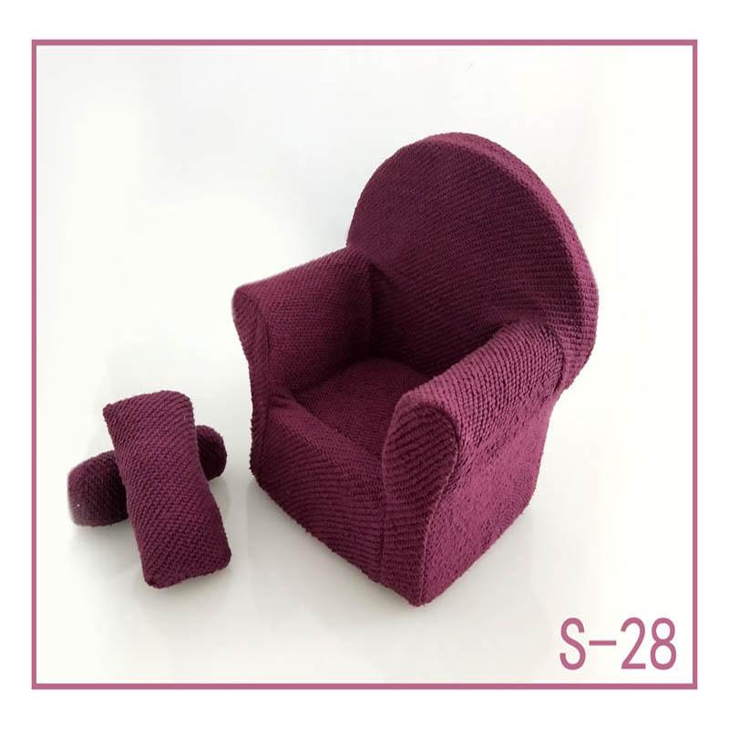 Реквизит для фотосъемки новорожденных, позирующий мини-диван, кресло на руку и 2 подушки, реквизит для фотосессии, студийные аксессуары для детей 0-3 месяцев - Цвет: 28