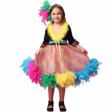 Fashion top quality half sleeve handmade feather rainbow children glitz pageant dresses