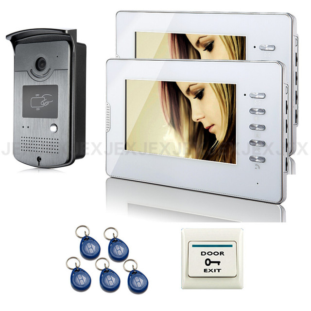 Wholesale Brand New 7 inch HD Apartment Video Door Phone intercom System 2 Monitor 1 RFID Reader Door bell Camera FREE SHIPPING