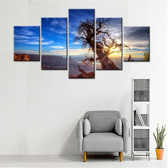 Sunset Dead Tree Wall Art Canvas Prints Office Painting for Wall ...