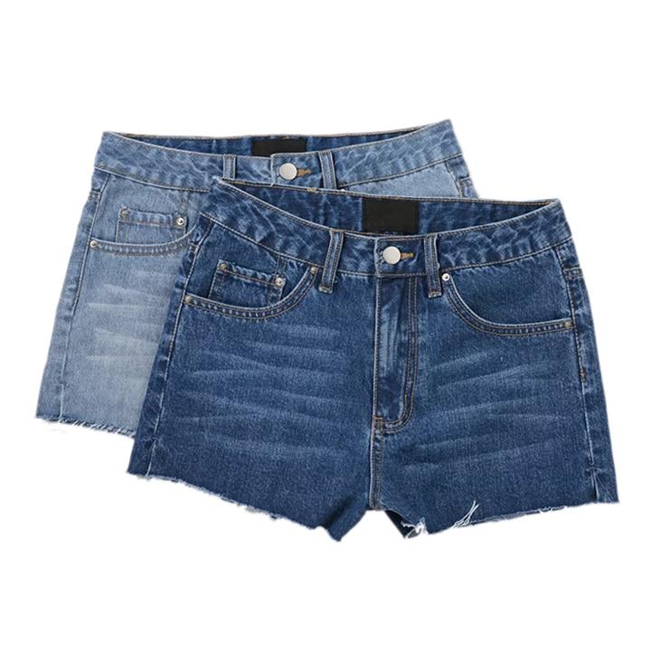 ФОТО 2017 summer new European style slim denim shorts burr hole bottom vent hot jeans