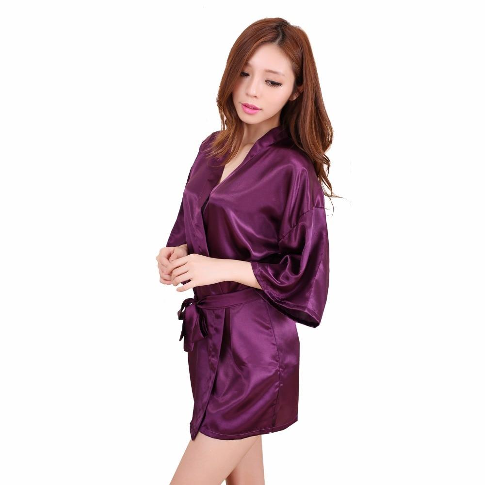 Hot New Purple Women Silk Rayon Mini Robe Dress Kimono Yukata Bath Gown Sexy Nightgown Sleepwear Pajamas S M L XL XXL NB031