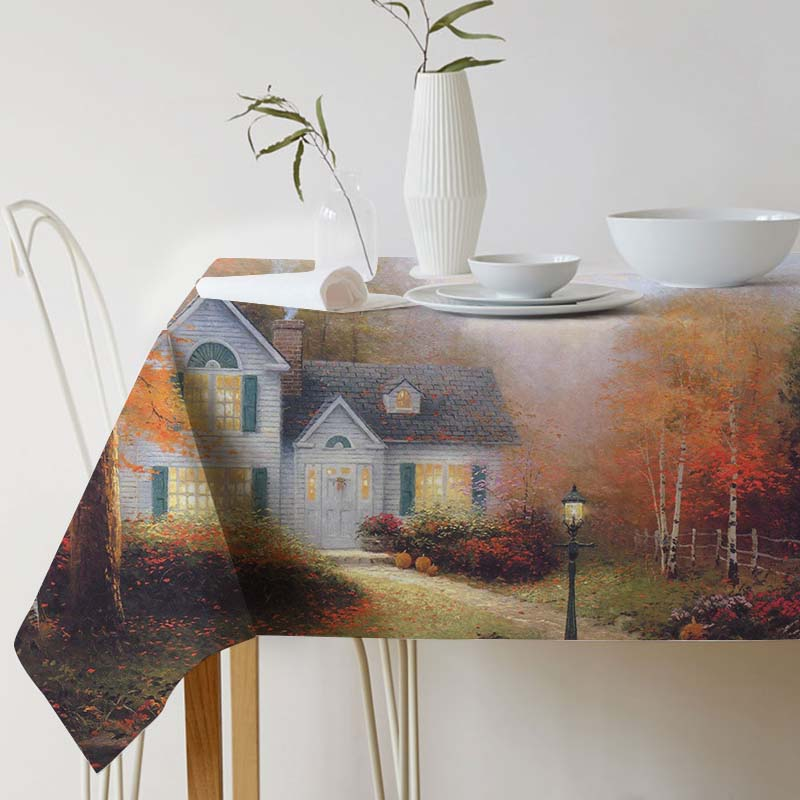 tablecloth Thomas Kinkade Ink painting Tablecloth for table Home Protection decoration Elegant Table cover Pastoral Landscape