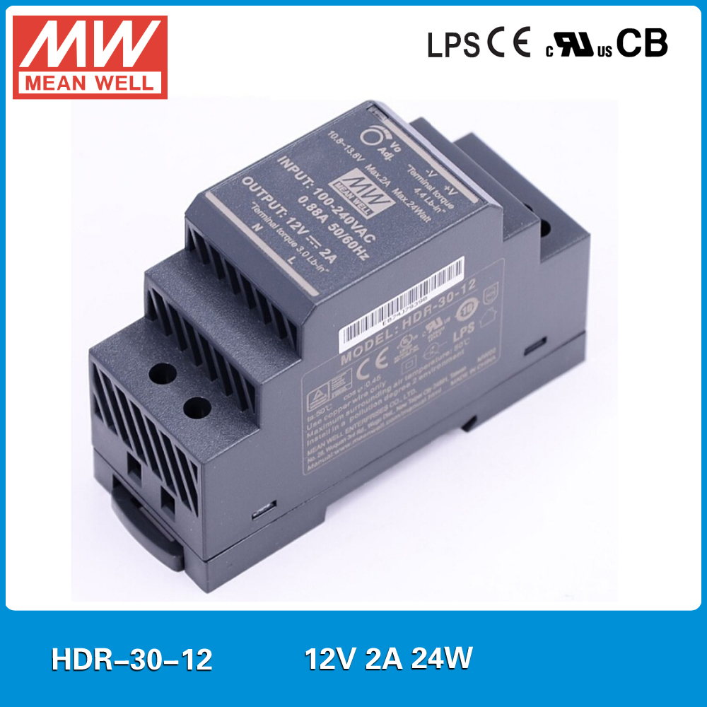 Original MEAN WELL HDR-30-12 24W 2A 12V DIN Rail Power Supply meanwell step shape mini slim size power source 12V DC adjustable
