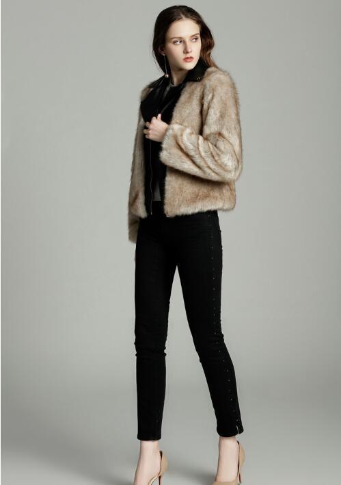 Renard Outwear Khaki Court white Casual Faux Femmes Printemps Zipper Manches Manteau De Slim Mode Longues Up Fourrure camel Fr1160 À Veste WUwO6Sp4qW