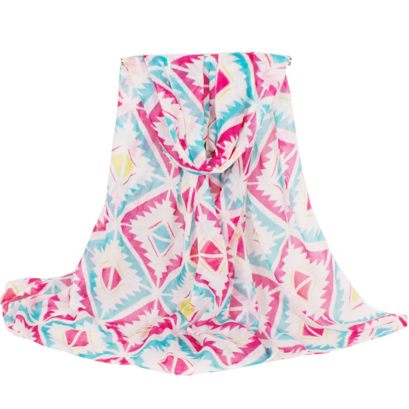 New Fashion Lightweight Soft Pink geometric Printing Polyester Long Women Scarf 180*80 cm