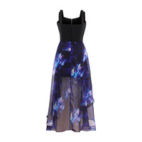 Sisjuly Gothic Asymmetrical Dress Black Summer Women Blue Print Casual Dresses Fashion Goth Young Girls Beach