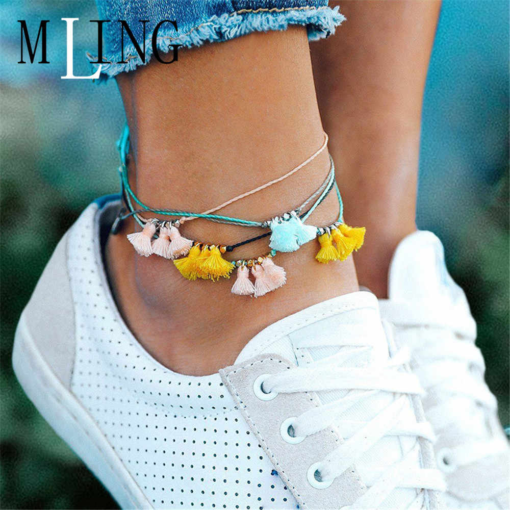MLING Vintage Multicolor Adjustable Rope Chain Anklet Bohemian Tassel Anklet For Women