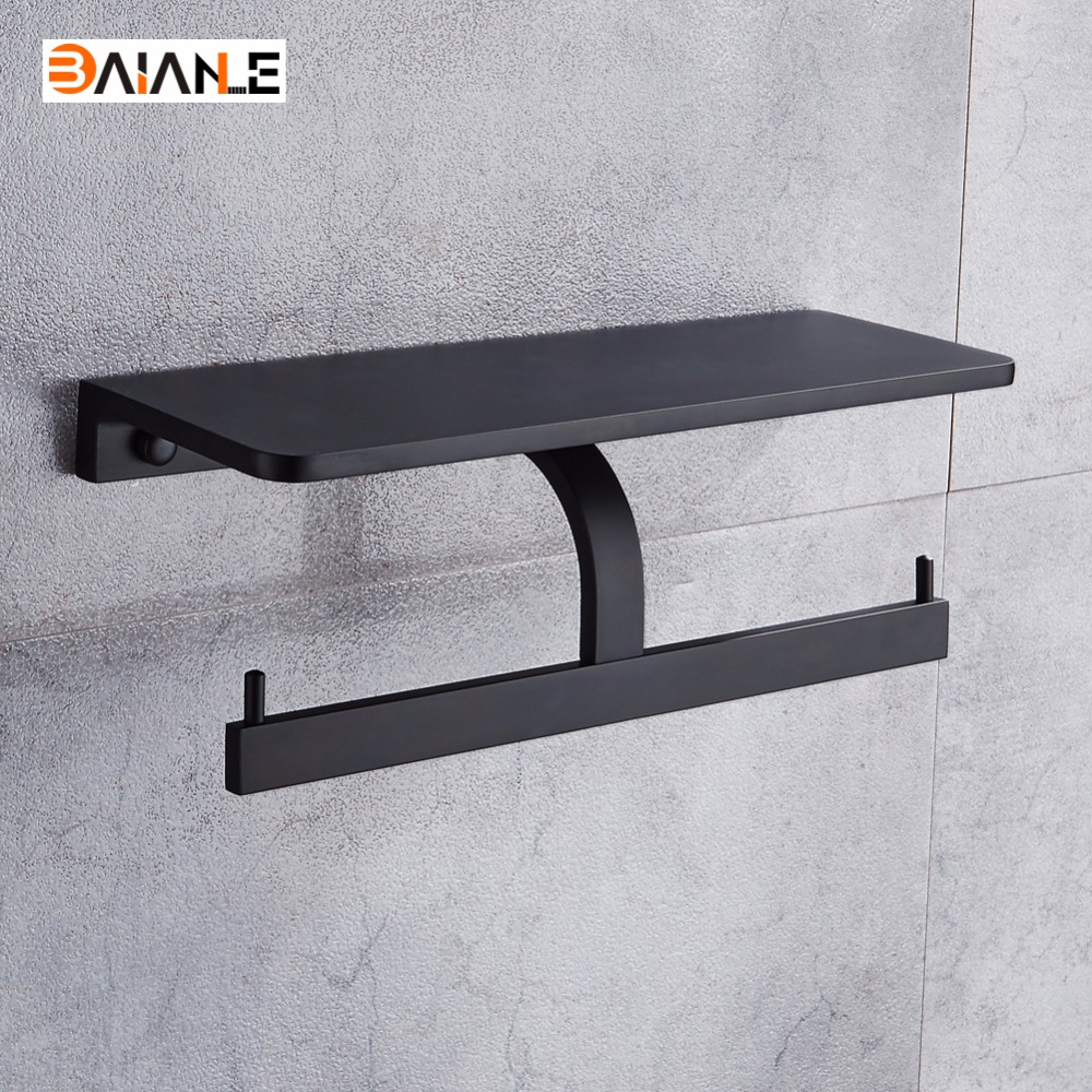 Free Shipping Space Aluminum Black Toilet Paper Holder Phone Shelf Storage Rack Wall Mounted Bathroom Dual Roll Paper Holder