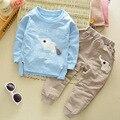Roupa dos miúdos 2016 Outono/Inverno Do Bebê Das Meninas Dos Meninos Dos Desenhos Animados do Elefante Conjunto de Algodão Roupa Das Crianças Define Criança T-Camisa + calça Terno V2