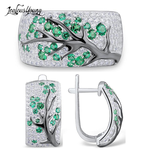 Fashion Silver Color Tree Zircon Jewelry Sets for Women Shiny Red Earrings and Ring Wedding Set Party Indian Jewelry(China)