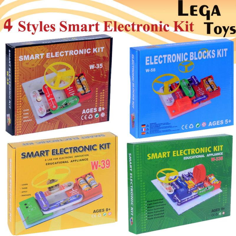 4 Styles Smart Electronic block kit,ELENCO Snap Circuits Extreme educational appliance,Educational blocks toys for children smart electronic kit snap learning educational appliance toys diy building blocks models electronic 35 projects kid create toy