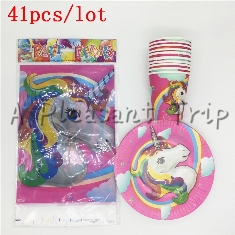 41pcs/lot Unicorn theme cartoon girls birthday party decorations trolls party supplies baby shower pj masks favors party set