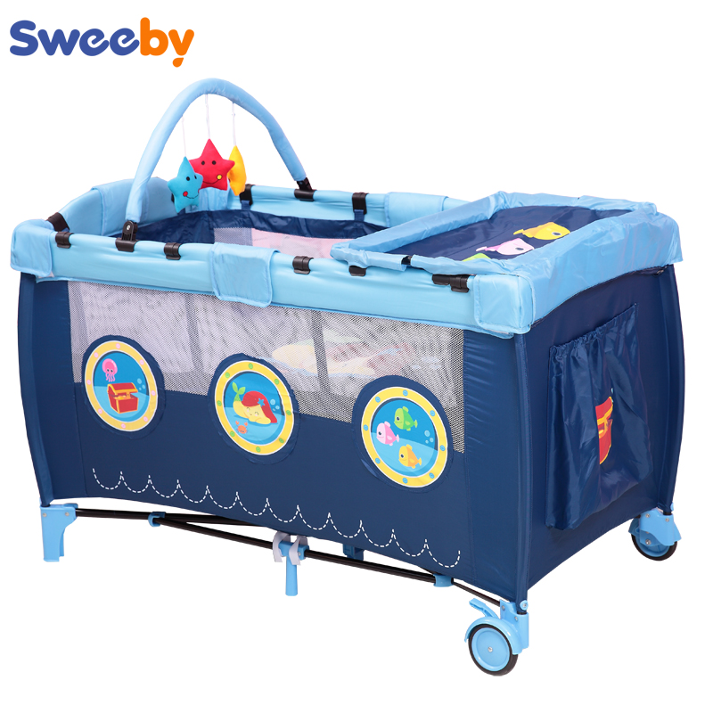 2019 Eco-friendly Multifunctional Folding Baby Crib Infant Baby Bed Portable Fence Game Bed