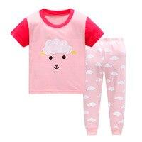 Jesień dziewczyny piżama z krótkim rękawem chłopcy piżamy bawełniane piżamy dla dzieci cartoon S dzieci piżamy zestawy dla 2-7y