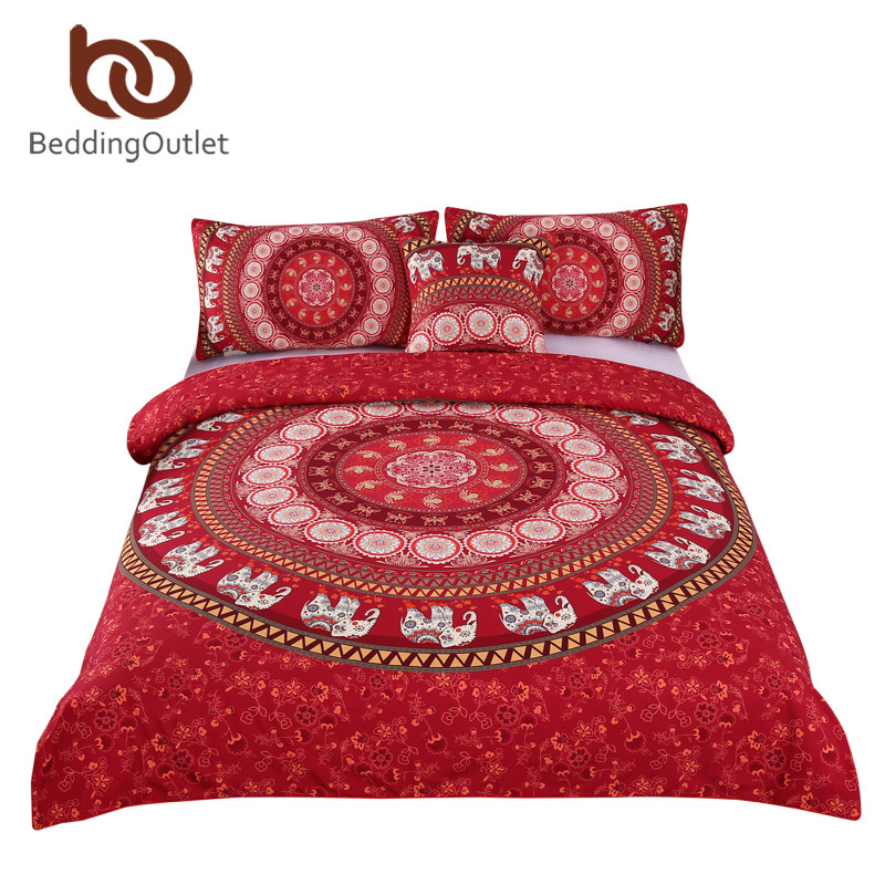 BeddingOutlet Red Mandala Boho Bedding Set Bohemian Elephant Messenger Bed Linen Soft Fabric Moroccan Bedclothes 4Pcs