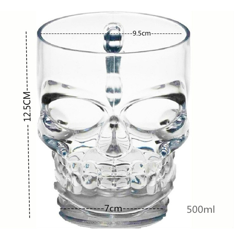 Classcial 500ml crystal glass Creative Pirate beer cup skull face bone with handle drinking wine Vodka Essential Bar 50JB022