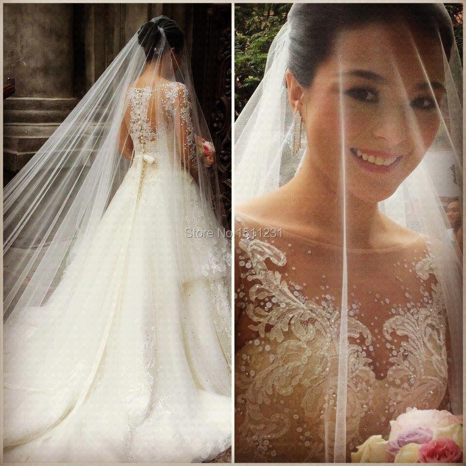Real Photo Durchsichtig Langarm Prinzessin Hochzeitskleid Vintage ...