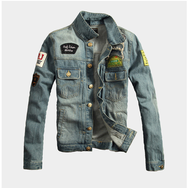 2016 Mens jackets coats high quality men's male holes  long sleeve thick man denim jacket long sleeved denim jacket men