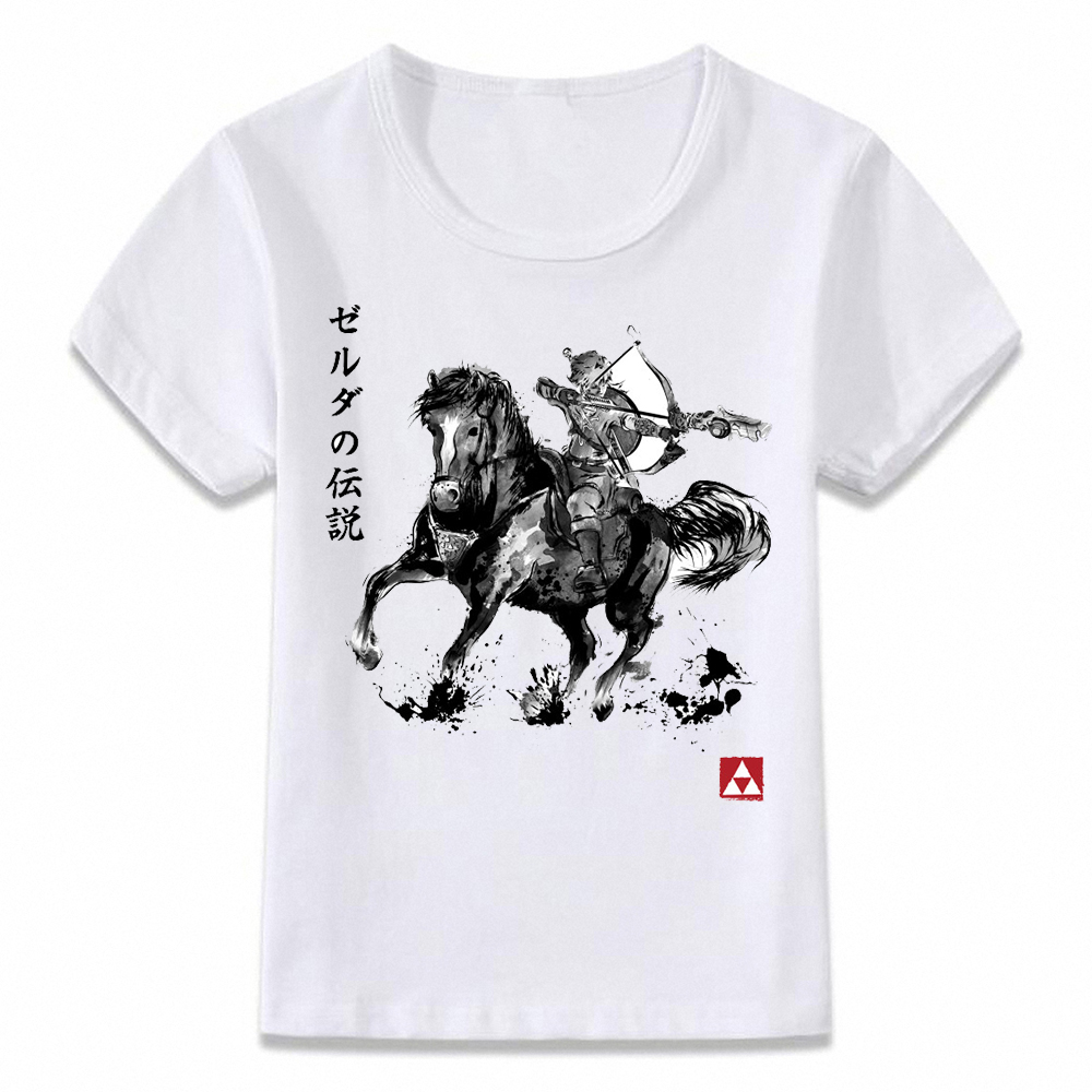 Kids Clothes T Shirt Link The Legend Of Zelda Japanese Painting Ink Art T-shirt For Boys And Girls Toddler Shirts Tee Oal198