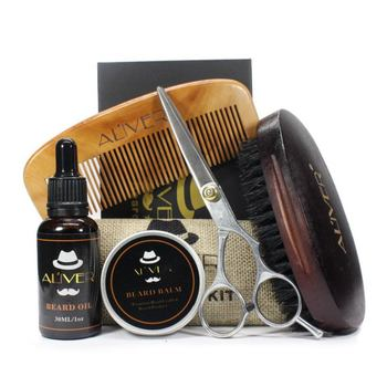 5 Pcs Men Moustache Cream Nutrition  Beard Oil Beard Balm Scissors Kit with Moustache Comb Brush Storage Bag Set & Kit H5 Hair Care Sets