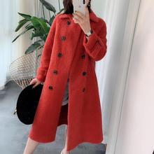 2019 winter real sheep fur shearing coat women real price womens clothing lamb fur wool Double-breasted England jacket coats стоимость