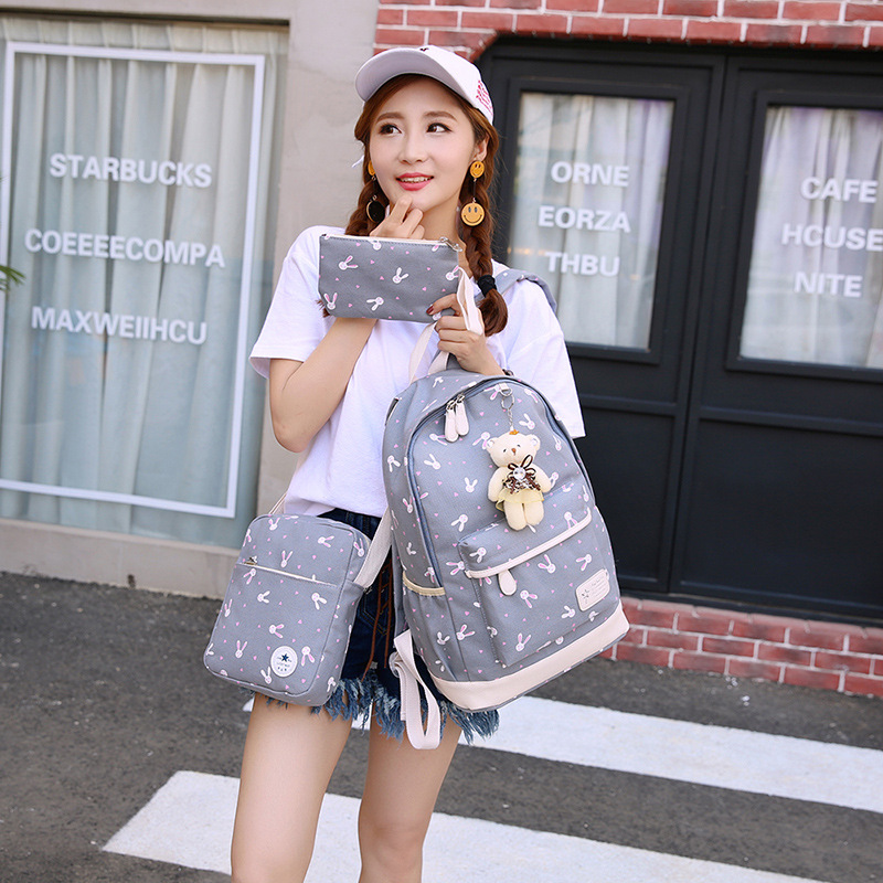 New 3pcs set Canvas Backpack Women School Bag With Bear for Teenager girls Travel Backpack Cute Rucksack Shoulder Bag in Backpacks from Luggage Bags