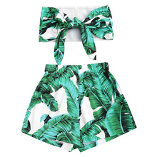 Gamiss Women Two Pieces Sets Strapless Lace Up Crop Top And Leaves Print Shorts Set Women