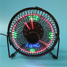 CLAITE LED Display Clock Fan Mini USB Table Fan With Real Time Temperature 4 Inch 6 Inch 360 Cooling Fans for Home Office