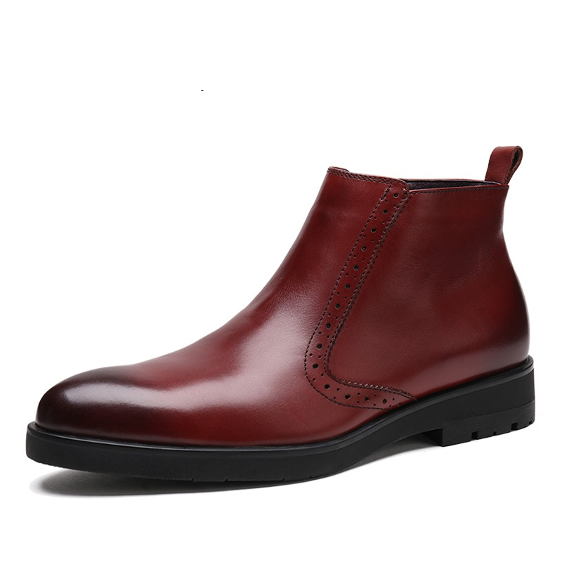 Breathable zipper wine red / black fur lining warm mens ankle boots genuine leather dress boots mens winter office shoes emotion