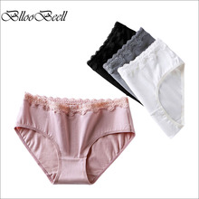 BllooBeell 3pcs Womens Cotton Underwear Briefs Sexy Panties for Women Mid Low-Rise Girls Lace Pants Ladies Lingerie Comfortable
