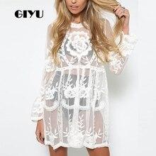 GIYU Summer Women Short Dress Casual Long Sleeve Dresses See Through Lace Beach Vestido Sexy Transparent Loose robe femme