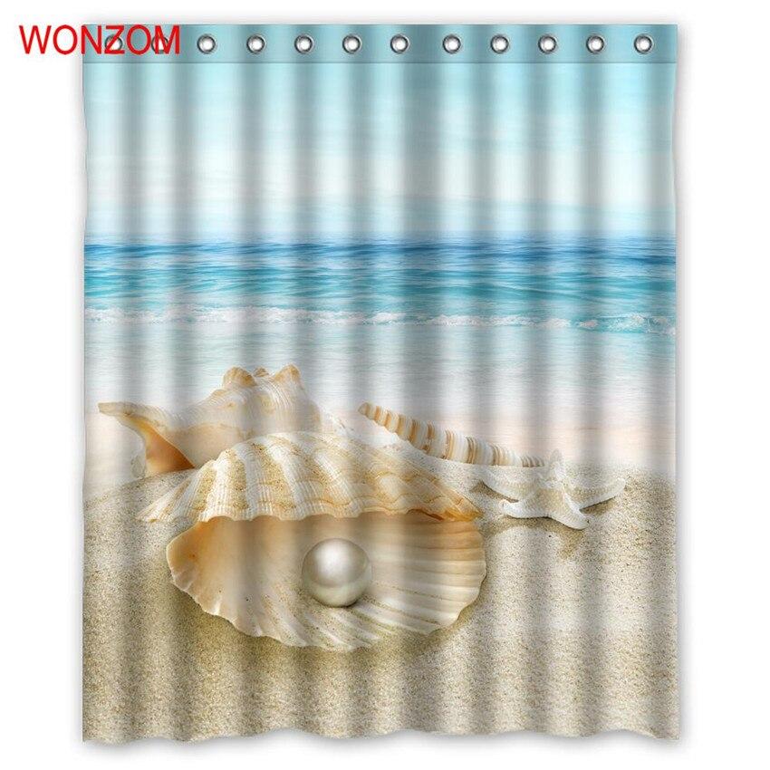 WONZOM 1Pcs Shell Waterproof Shower Curtain Pearl Bathroom Decor Beach Decoration Scenery Cortina De Bano 2017 Bath Curtain Gift
