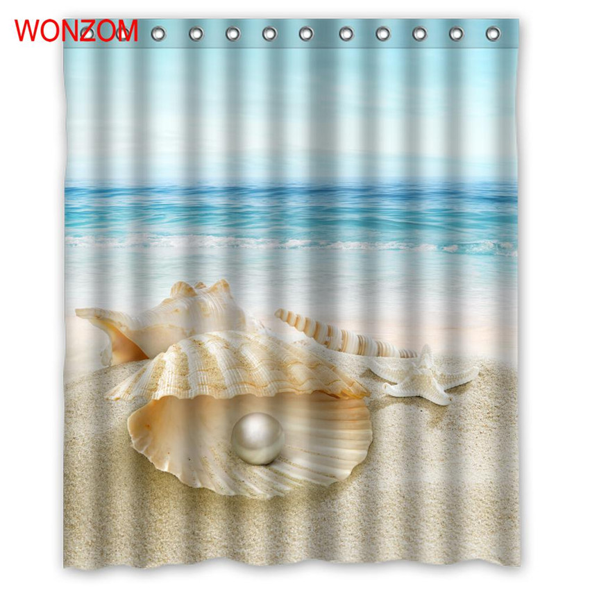 WONZOM 1Pcs Shell Waterproof Shower Curtain Pearl Bathroom Decor Beach Decoration Scenery Cortina De Bano 2017 Bath Curtain Gift