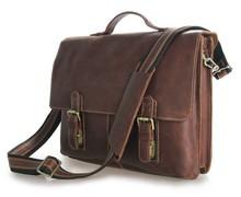 "Vintage Real Genuine Leather Men Messenger Bags Cow Leather Portfolio Business Men's Travel Bags 14"" Laptop Briefcase #VP-J7090"