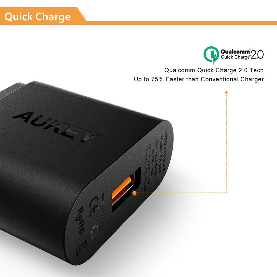 iphone quick charge. aukey quick charge 2.0 mobile phone charger 18w usb wall smart fast charging for iphone ipad samsung galaxy note xiaomi-in chargers iphone p