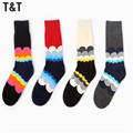 1PCS Korea style mannen happy hip hop thermal 100% cotton socks sox sokken for BOYS&GIRLS lovers sock MS0019