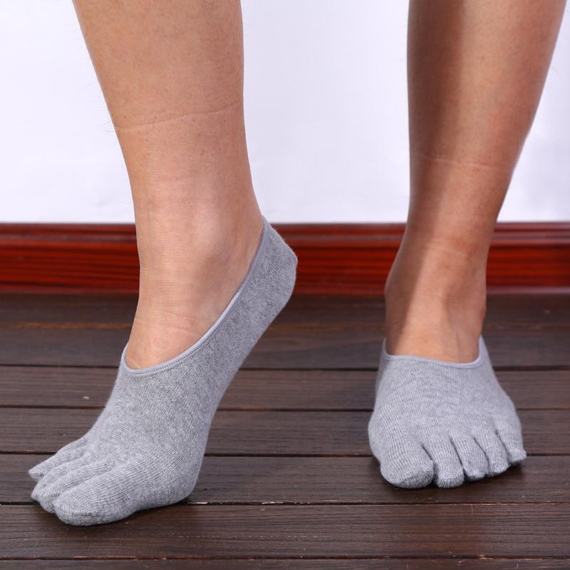 3 Pairs/lots Men Five Finger Sports Sock Cotton Invisible Socks Summer Low Cut Toe Socks No Show Sox Sock Slippers US size 7-10