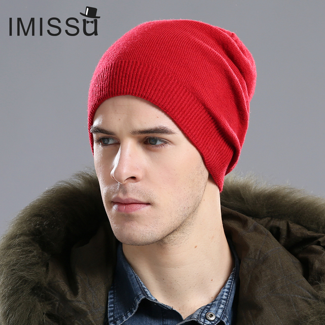 IMISSU Autumn Winter Beanie Hat Unisex Knitted Wool Skullies Casual Cap Solid Colors Ski Gorros Fashion Double Layers Warm Hats