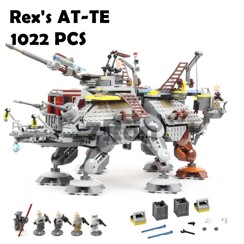 05032 Star Wars Rex's AT-TE Model building kits compatible with lego 75157 city 3D blocks Educational toys hobbies for children lepin 1022pcs star series wars captain rex s at te building blocks brick lepin 05032 boys toys gift compatible legoingly 75157