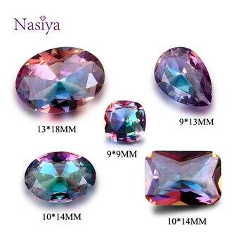 NASIA Misterioso Rainbow Contas de Pedra Naturais Espinélio Queda Zircão Quadrado Retângulo Oval Gemstone Solta para Jóias Anel DIY 10 Pcs