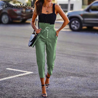 Women Flare Pants High Waist Solid Color Loose Fit Cargo Pants With Belt Pockets Elastic Waist Casual Trousers