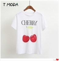 T MODA 2017 New Fashion Women Red Cherry Printed White T Shirt Fruits Printed Casual T