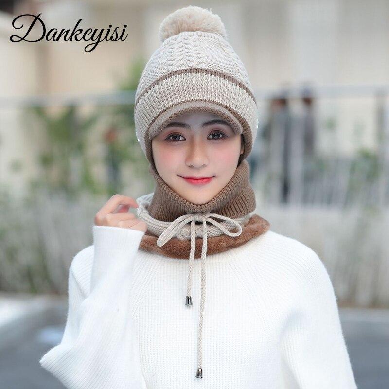 DANKEYISI Women Winter Scarf And Hat Set Lady Mask Winter Hat For Women Beanies Skullies Bonnet Femme Balaclava Sacrf Set Female