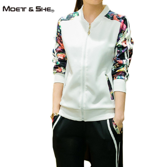Moet &She Plus Size  4XL Womens Sets Casual Sweat Suits Ladies Baseball Floral Long Sleeve Zipper Pant Tracksuits S67248R