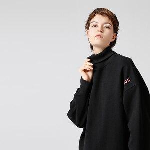 Image 3 - Toyouth Sudadera larga con capucha para mujer, suéter informal con letra de Color sólido bordado, suéter de cuello alto, sudaderas holgadas para mujer 2019