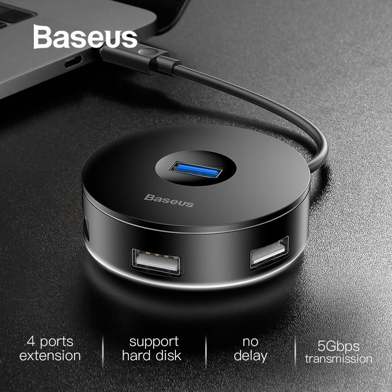 Moyeu USB Baseus 4 Ports USB 3.0 ou Type C vers USB3.0 + USB2.0 pour MacBook Micro USB HUB ordinateur portable disque dur Mobile pour accessoires PC