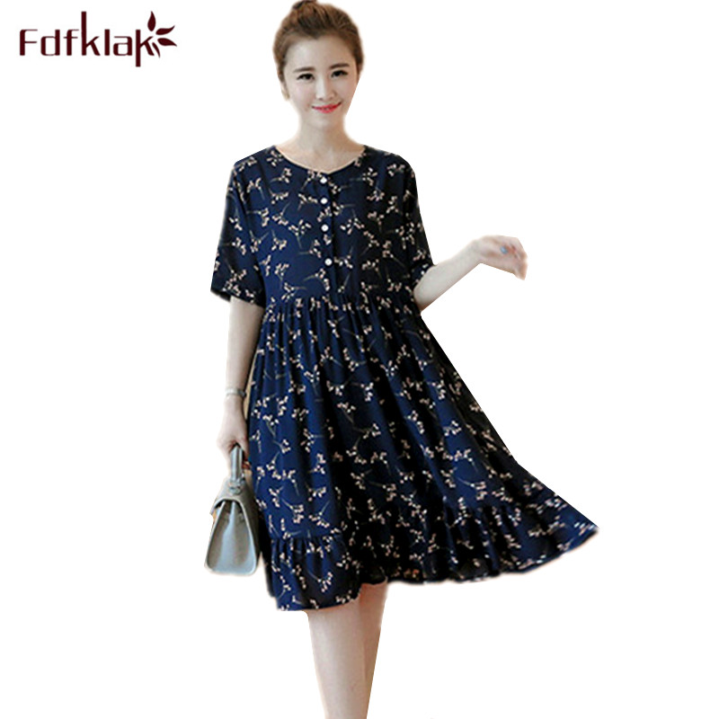 Fdfklak Large Size Maternity Clothes Short Sleeve Chiffon Pregnancy Dress Elegant Print Pregnant Dress Women Beach Dresses